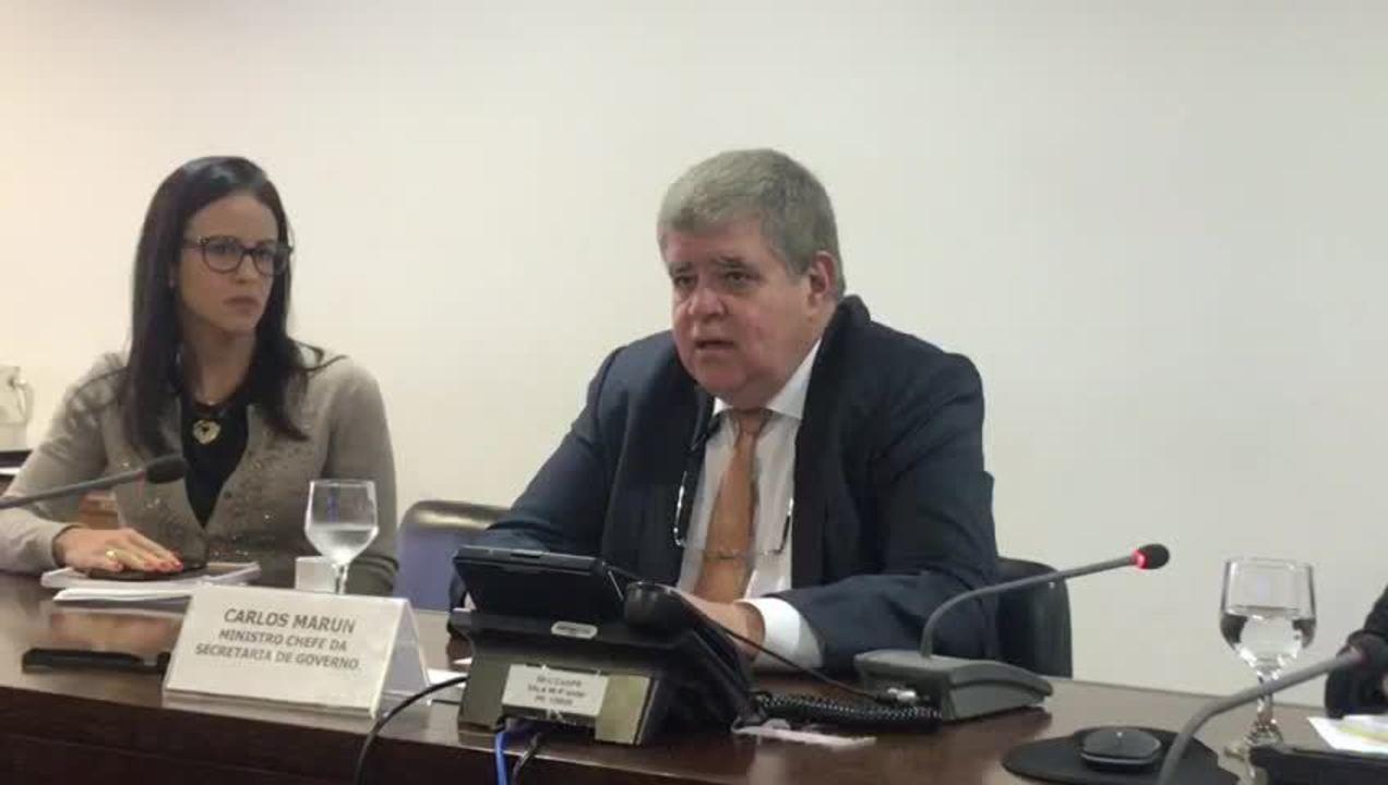 O ministro Carlos Marun conversou com jornalistas em café da manhã no Palácio do Planalto