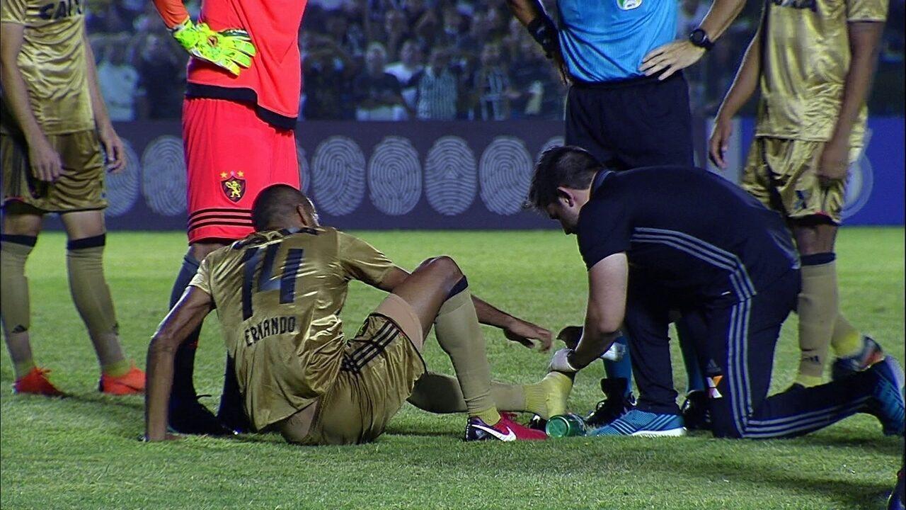 Ernando lesiona o pé esquerdo em queda e é substituído por Max aos 4 do 2º tempo
