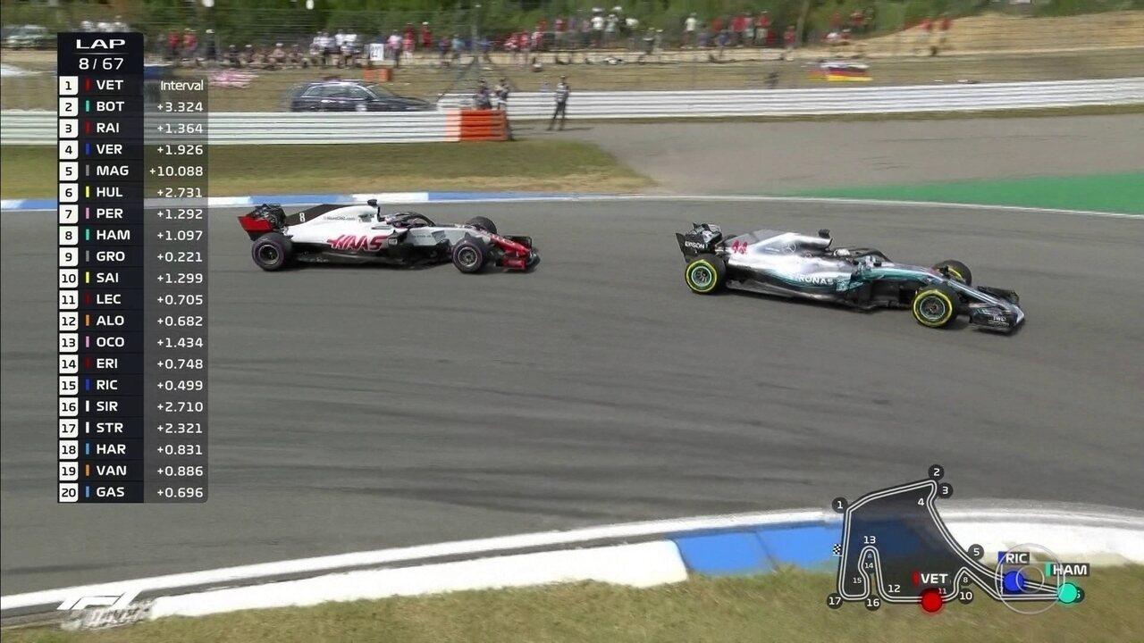Hamilton passa Grosjean e chega na 8ª posição no GP da Alemanha