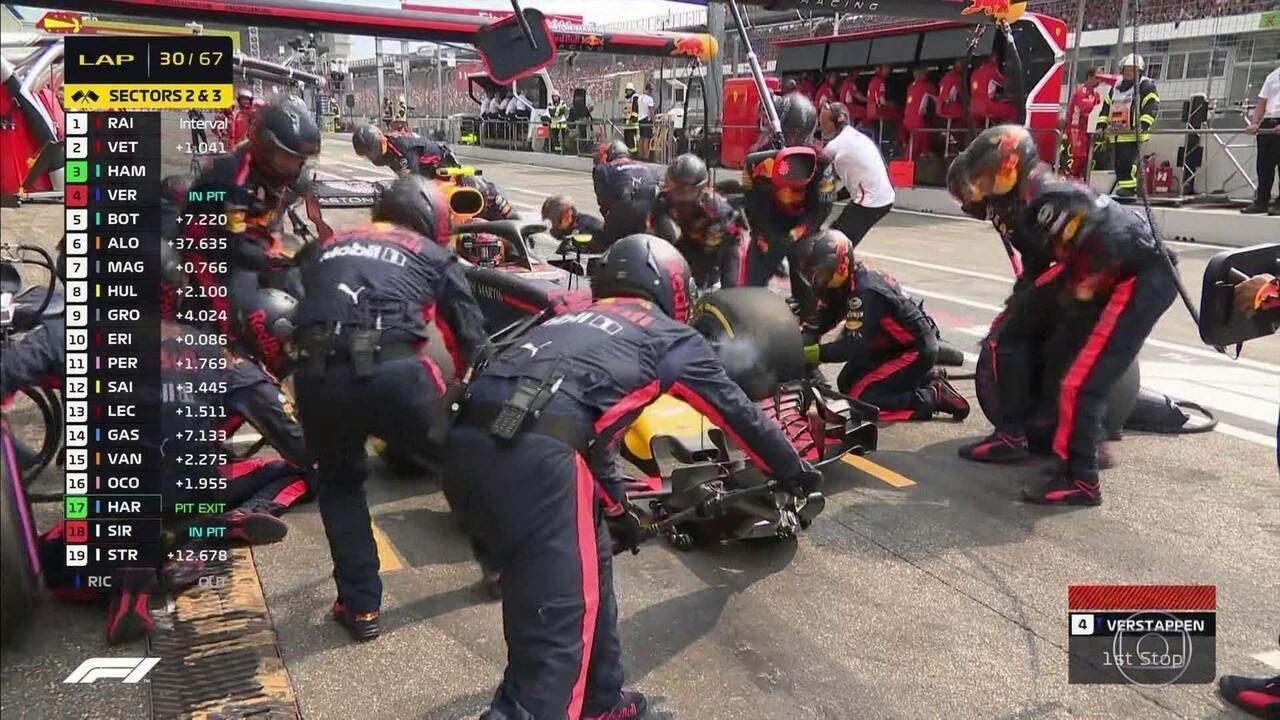 Verstappen para nos boxes e Hamilton está em 3º no GP da Alemanha