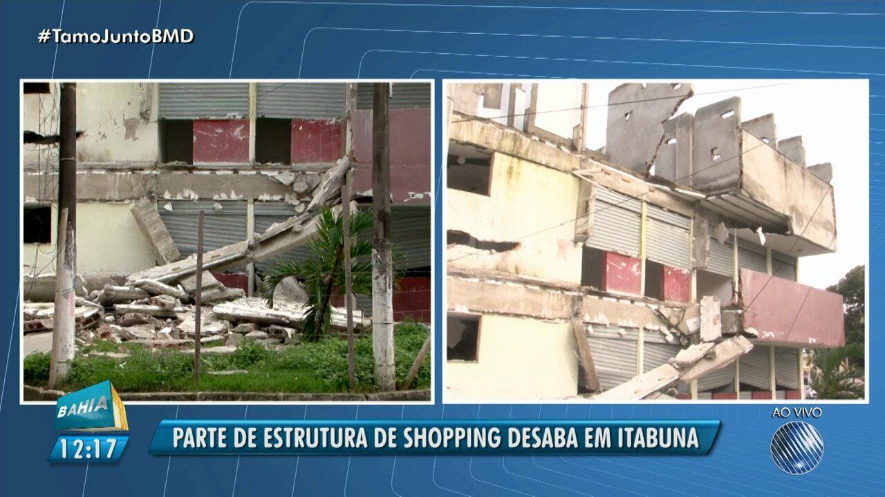 Parte de construção de shopping popular desaba em Itabuna