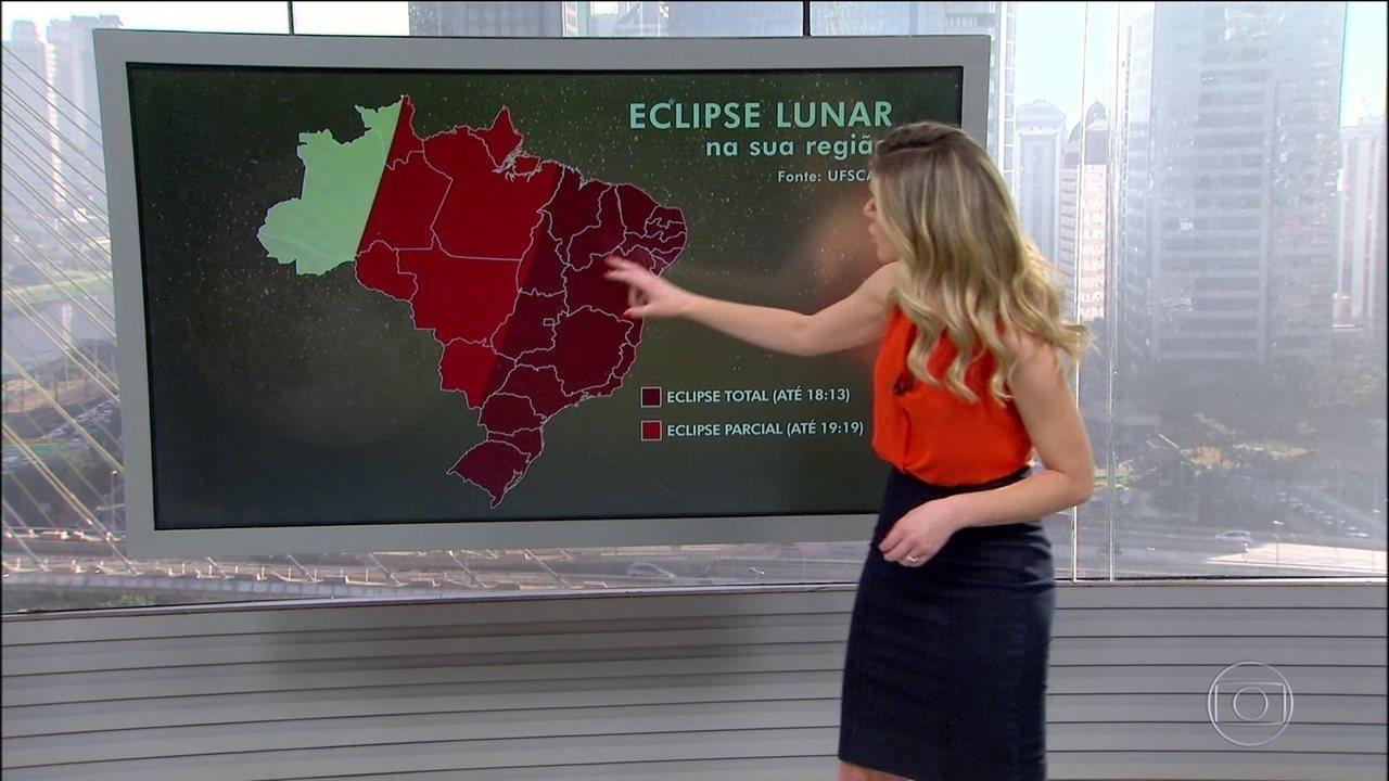 Eclipse lunar mais longo do século poderá ser visto em algumas regiões do país
