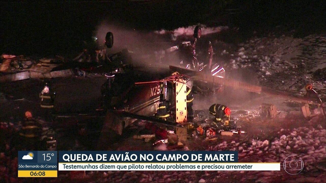 Queda de avião deixa um morto e 6 feridos no Campo de Marte em SP