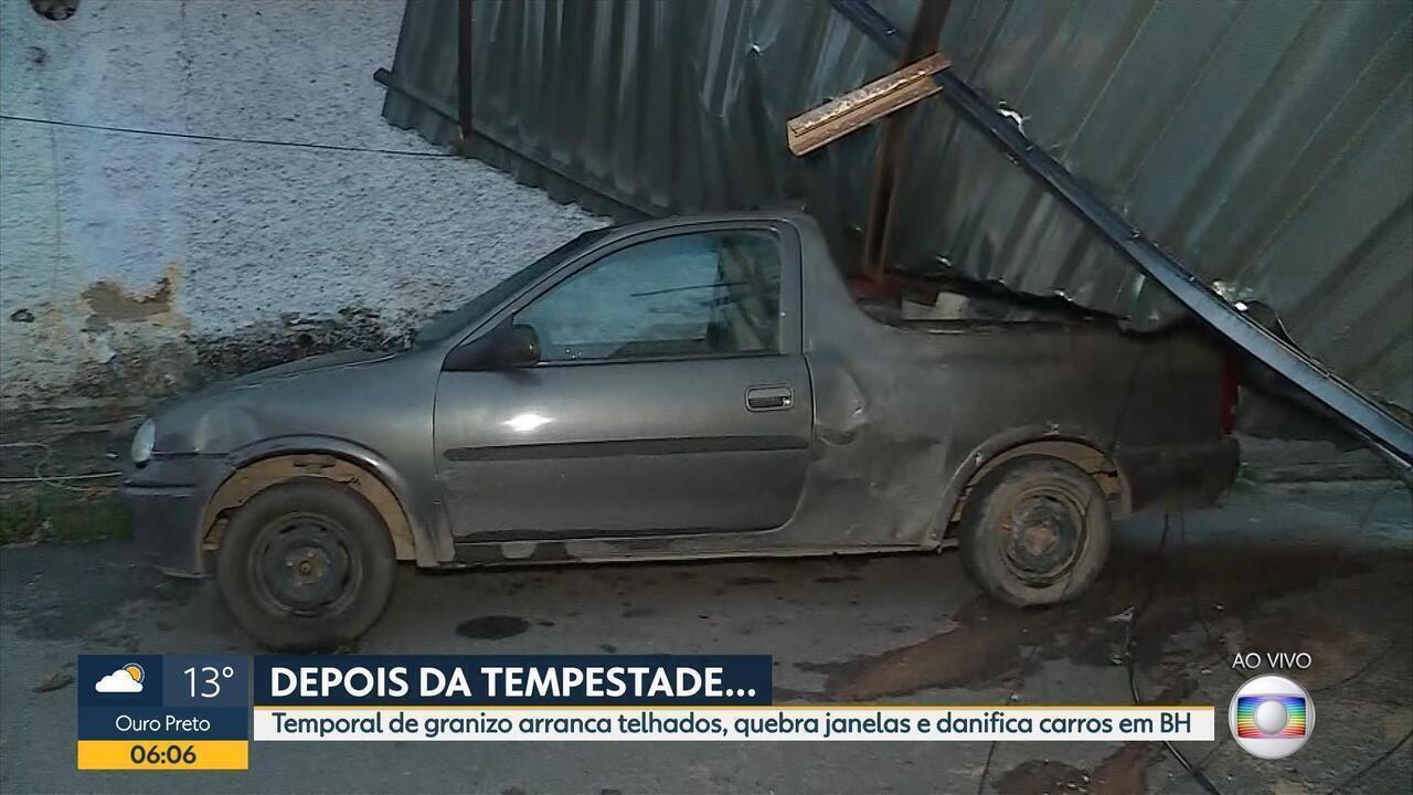 Temporal de granizo arranca telhados, quebra janelas e danifica carro em BH