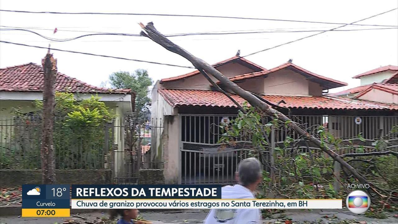 Chuva provoca estragos no bairro Santa Terezinha, em BH