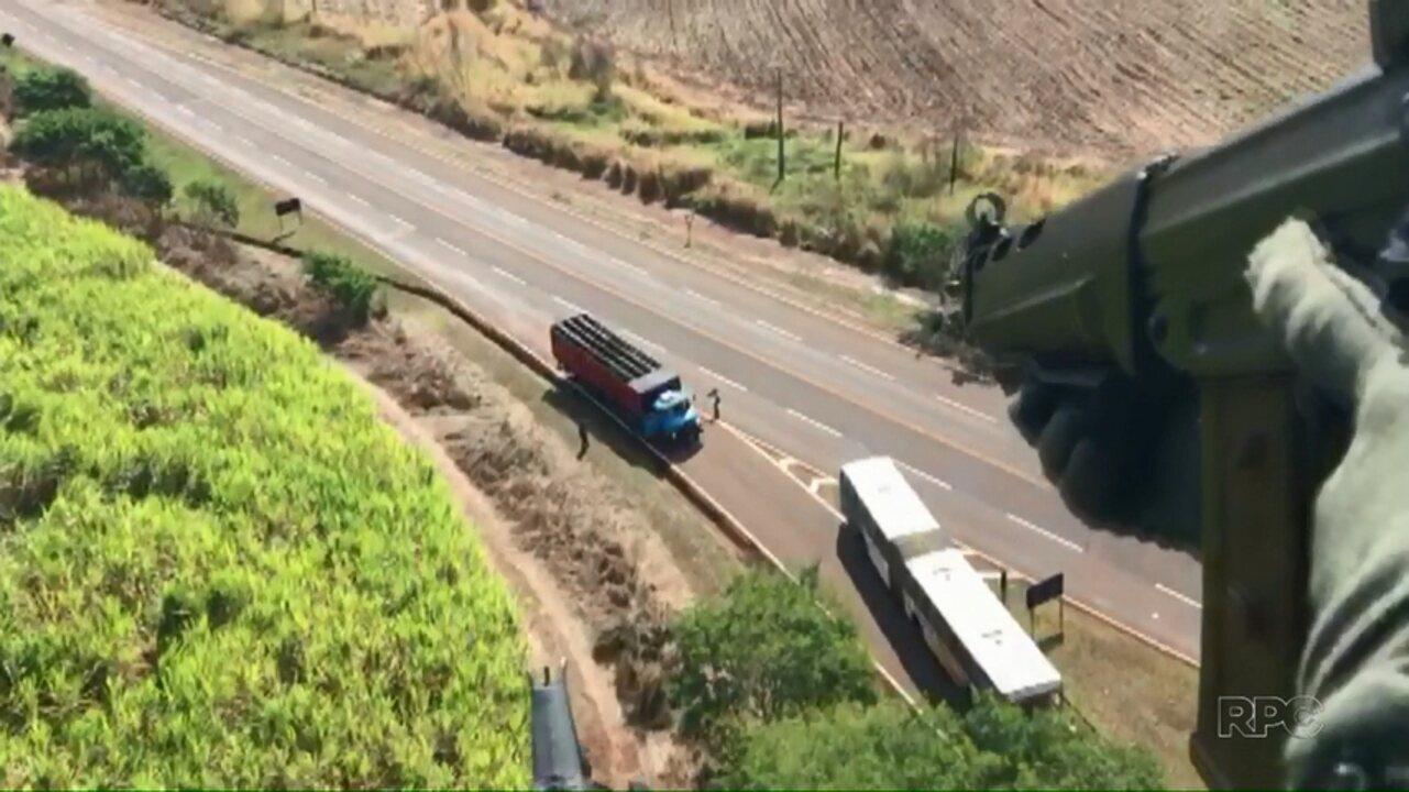 DENARC apreende caminhão carregado com maconha na região de Bandeirantes