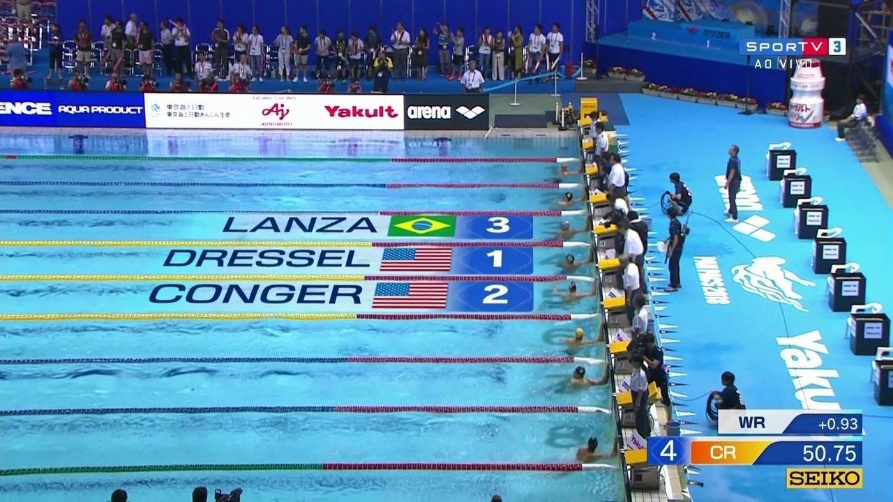Vinícius Lanza conquista a medalha de bronze na final dos 100 m borboleta masculino