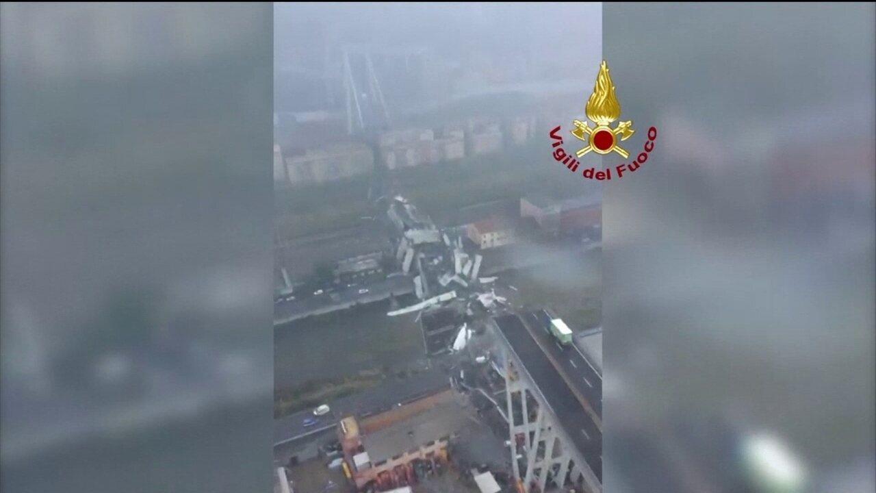 Imagens aéreas mostram ponte que caiu em Gênova, na Itália