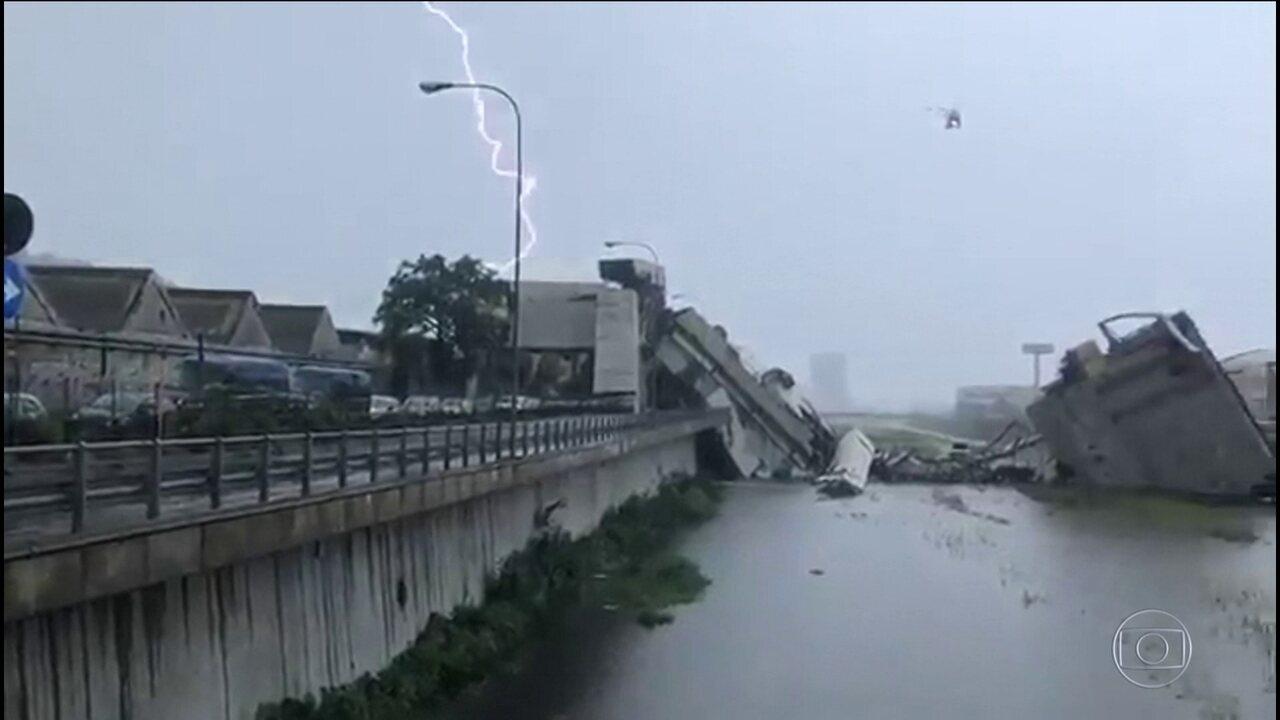 Ponte desaba em Gênova, na Itália e deixa dezenas de mortos