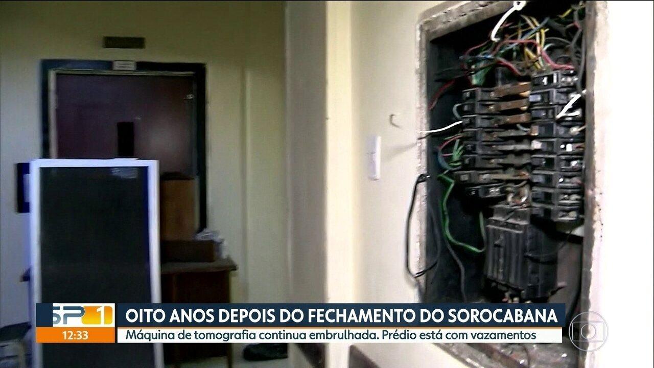 Antigo Hospital Sorocabana tem vazamento e equipamentos abandonados
