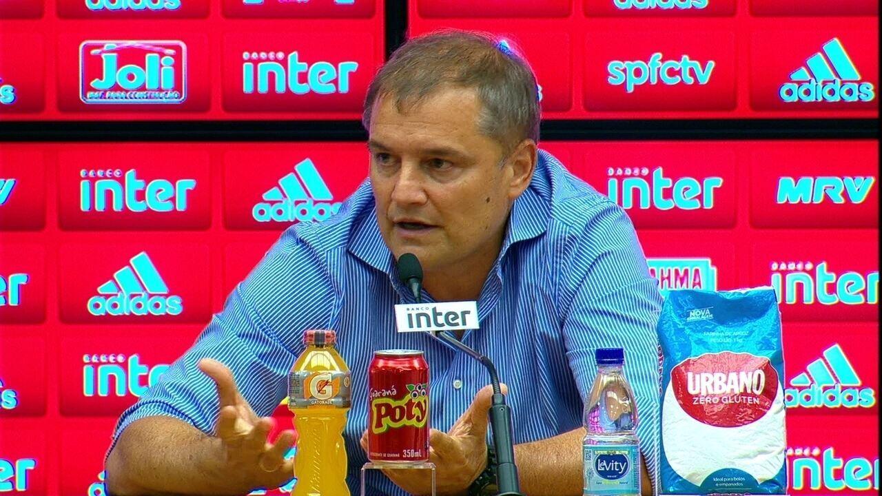 Veja trecho da entrevista de Diego Aguirre após o empate do São Paulo contra o Fluminense