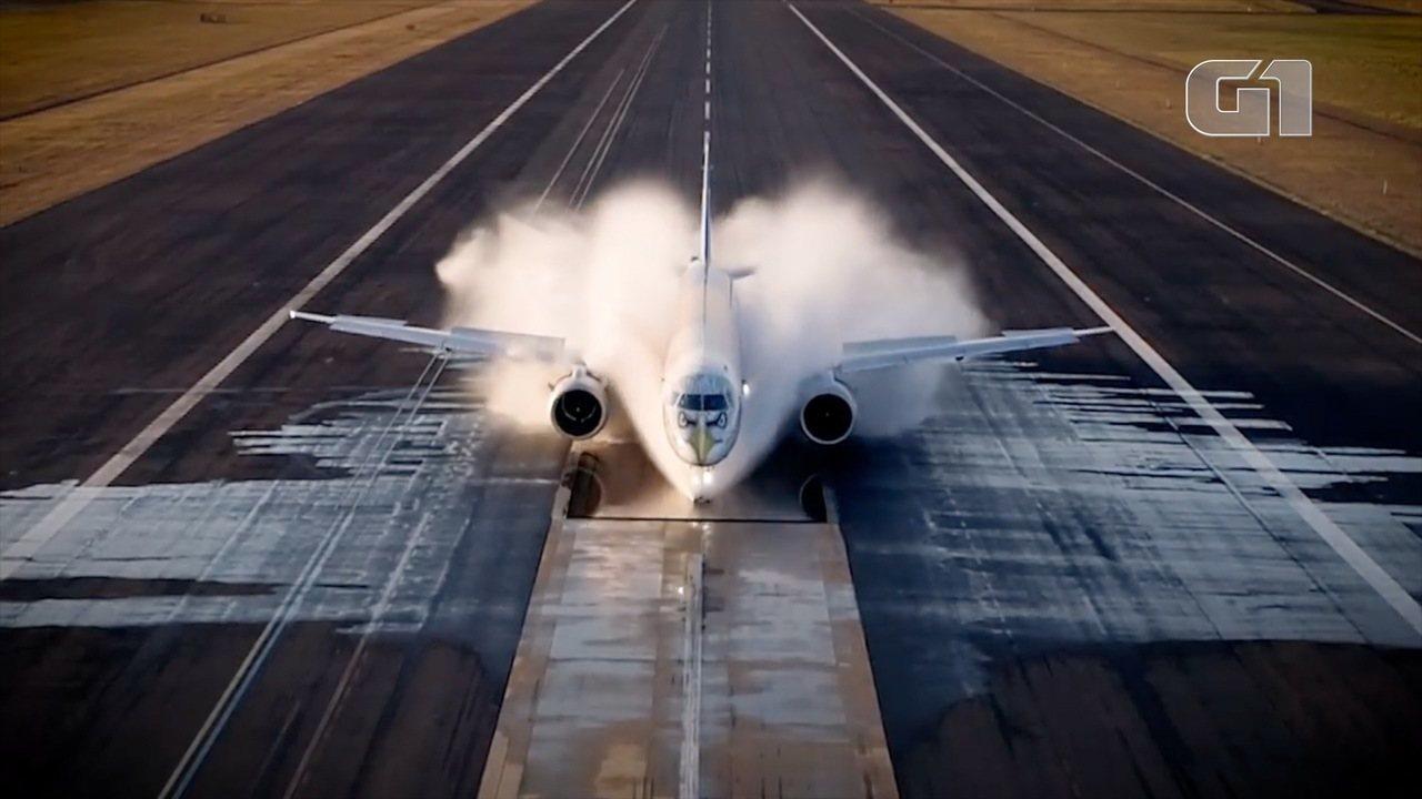 Embraer faz teste do modelo E195-E2 em pista molhada; Veja vídeo