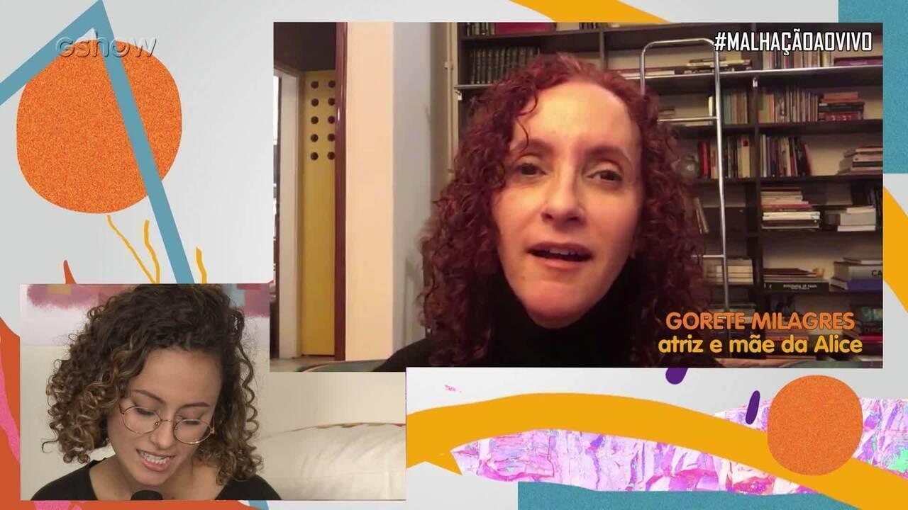 #MalhaçãoAoVivo: Alice Milagres e Guta Stresser se emocionam com recado de Gorete Milagres