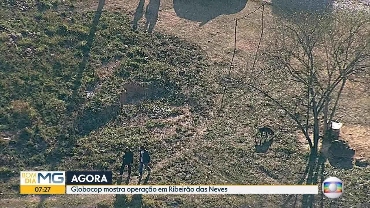 Cães farejadores auxiliam em operação contra o tráfico de drogas em Ribeirão das Neves