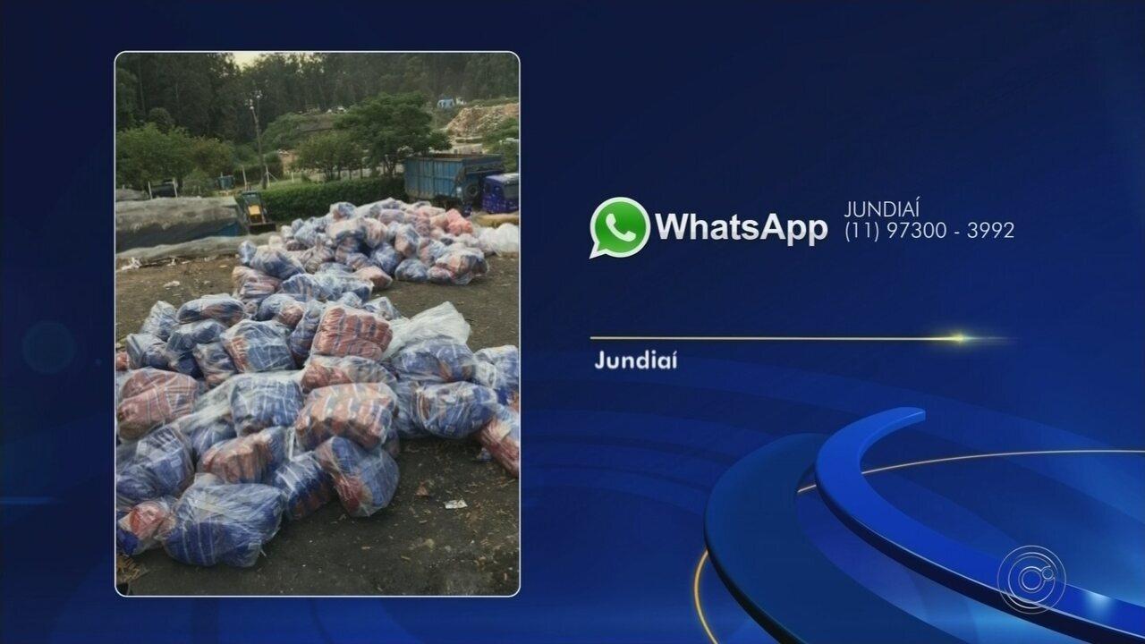 Centenas de pacotes fechados de alimentos são descartados em Jundiaí