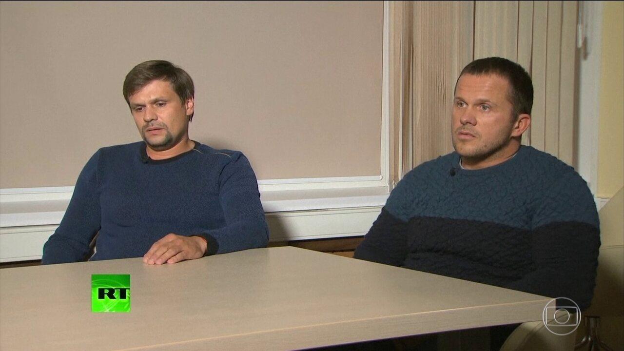 Dois homens suspeitos por envenenamento de ex-espião russo dão entrevista