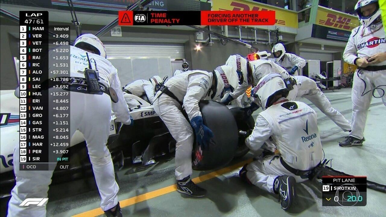 Sirotkin é punido durante GP de Cingapura