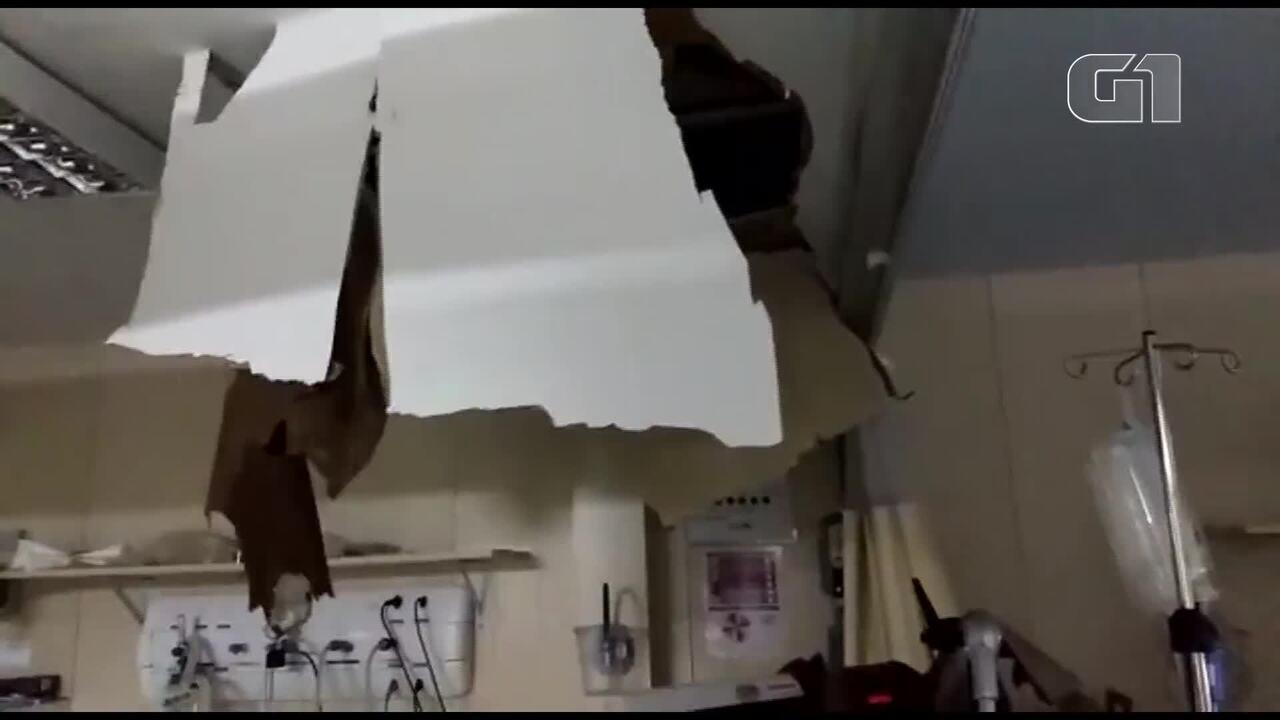 Forro do teto de UTI do Hospital de Ceilândia, no DF, desaba após chuva
