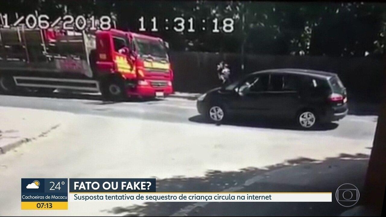 É fake: Vídeo mostra tentativa de sequestro de criança em Nilópolis