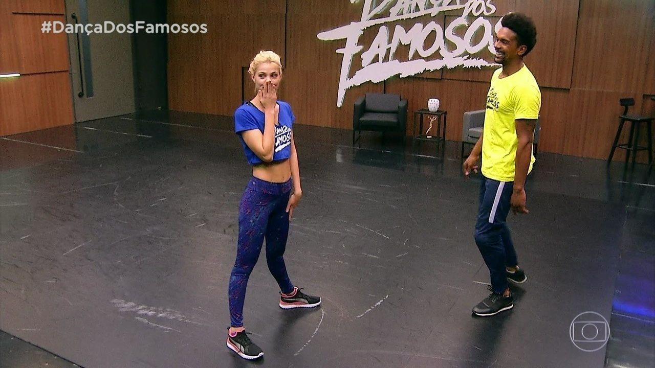 Pâmela Tomé se preparando para o 'Dança dos Famosos'