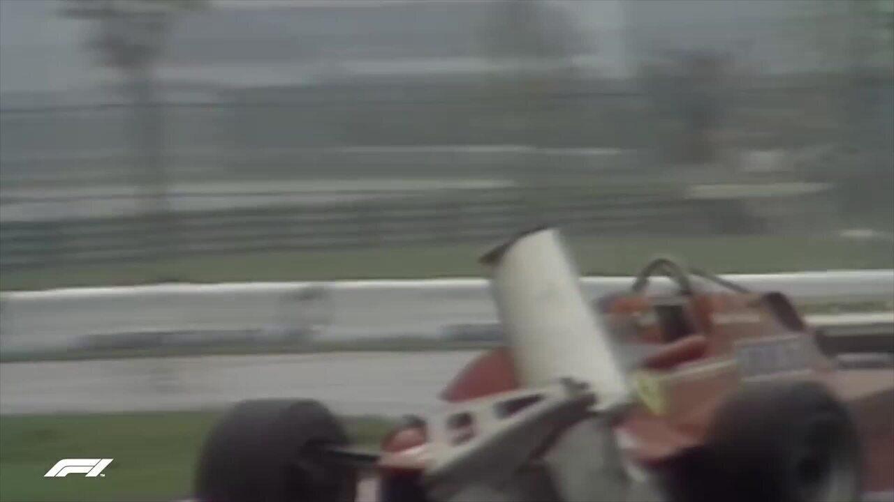 Gilles Villeneuve controla carro com asa quebrada em Montreal, em 1981