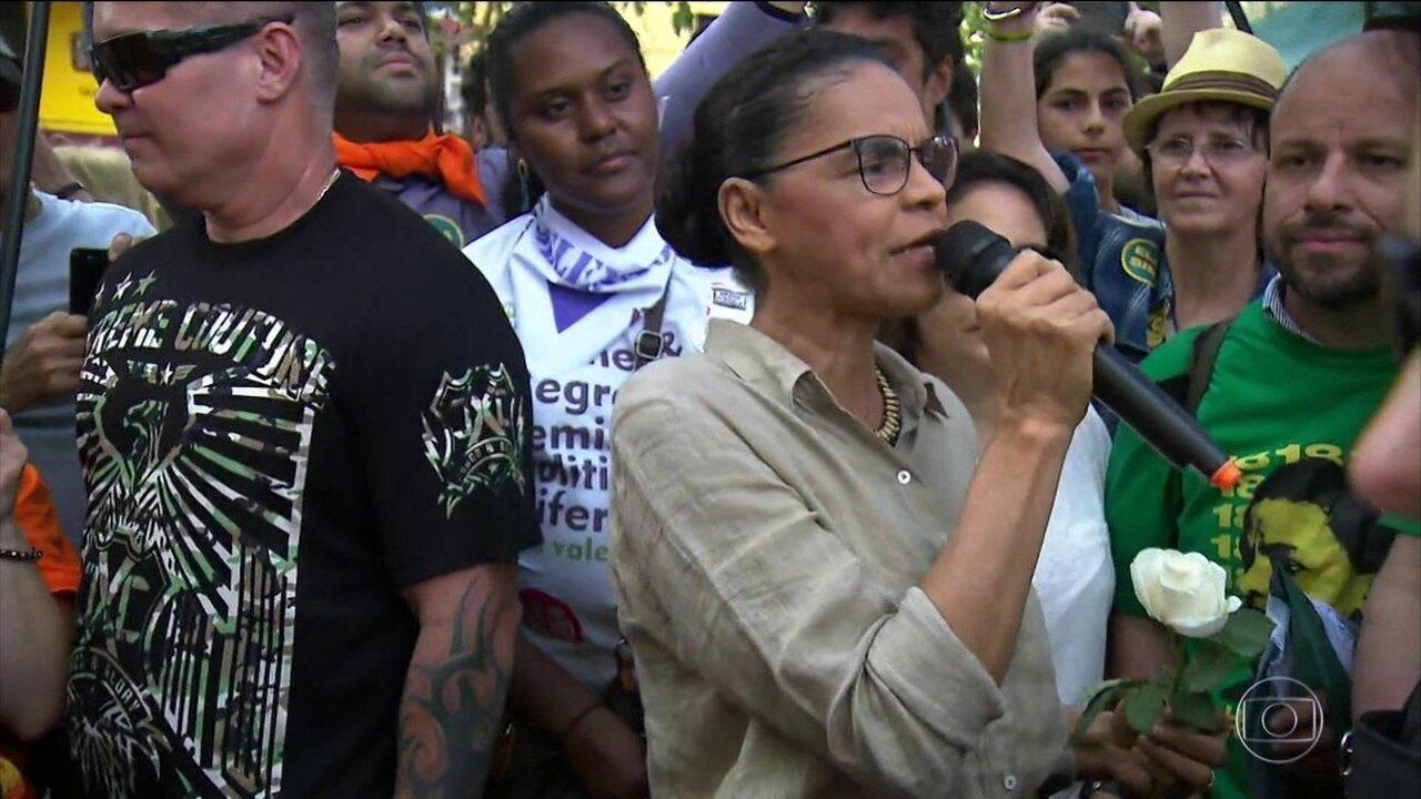 Candidata da Rede, Marina Silva, esteve em São Paulo, neste sábado (29)