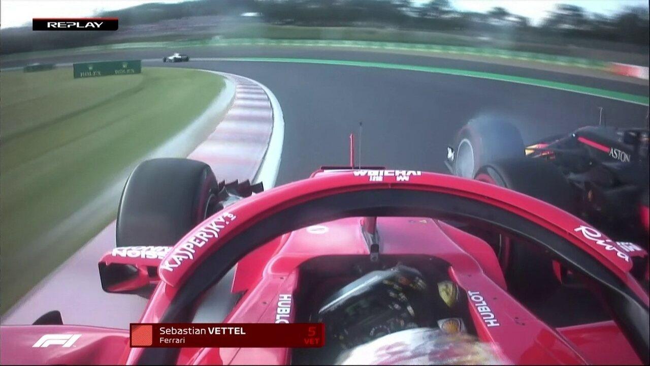 Vettel e Vestappen batem e alemão cai para o último lugar