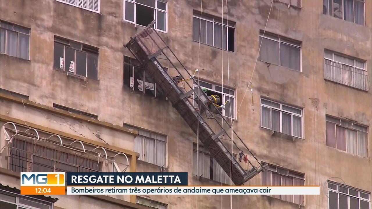 Trabalhadores são resgatados na fachada do Edifício Maletta após andaime ameaçar cair