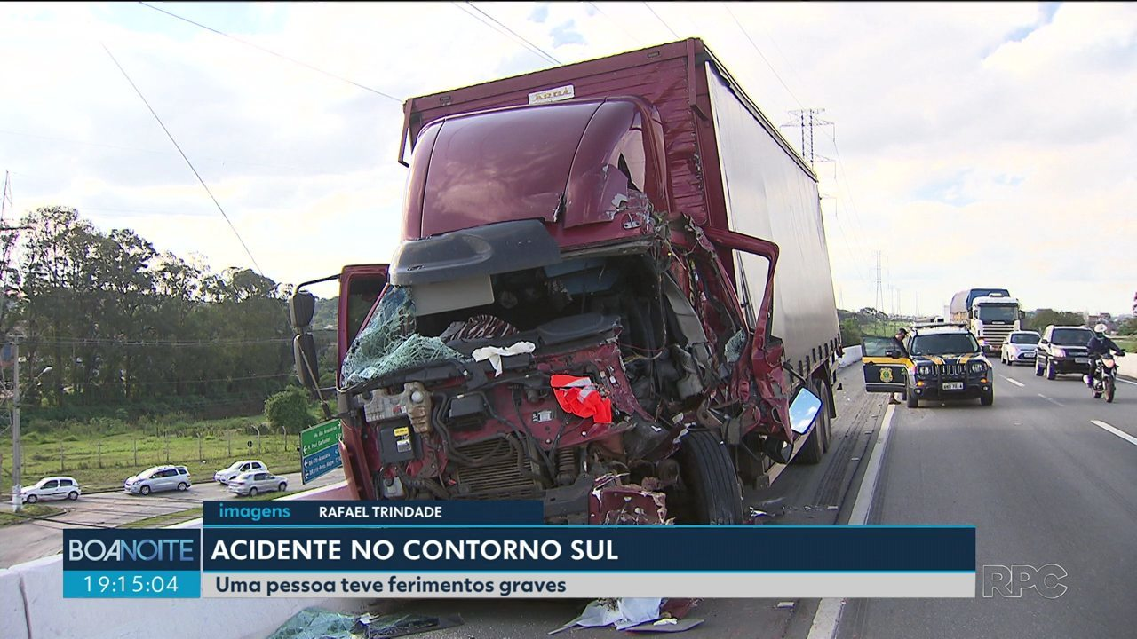 Uma pessoa fica ferida em acidente no Contorno Sul
