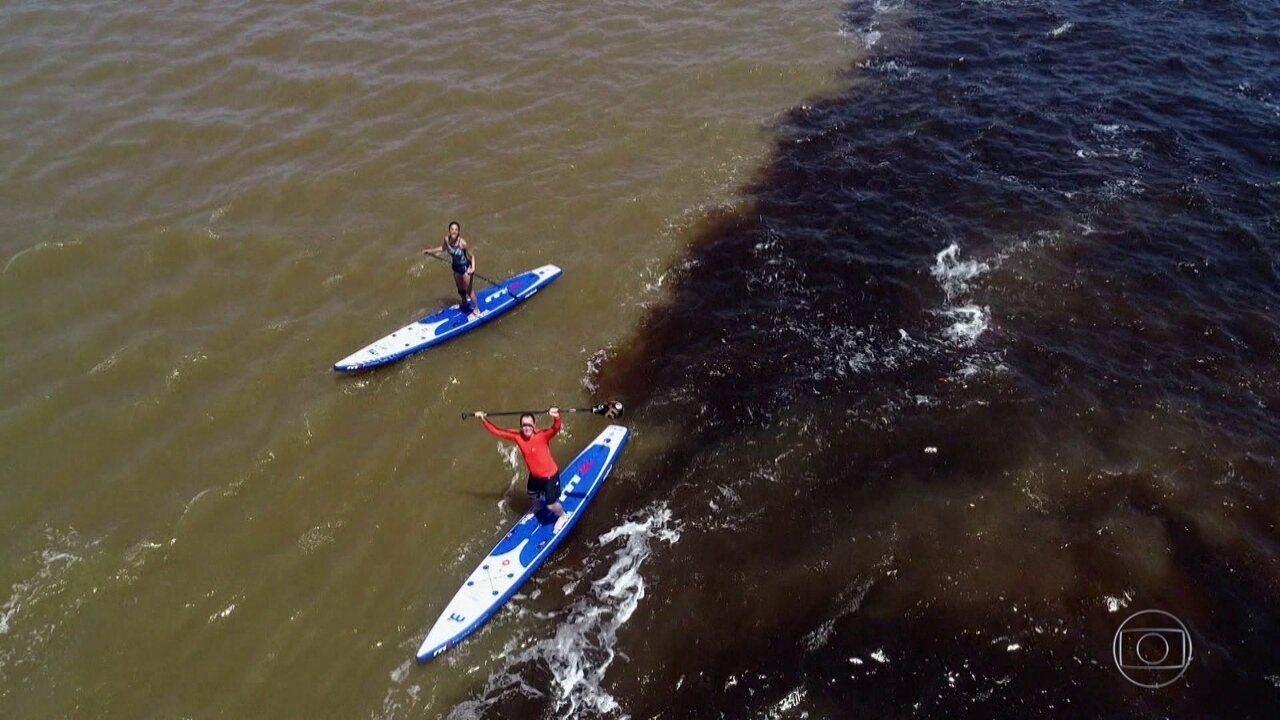 Expedição Brasil cruza a Amazônia praticando stand up paddle pelos rios Negro e Solimões