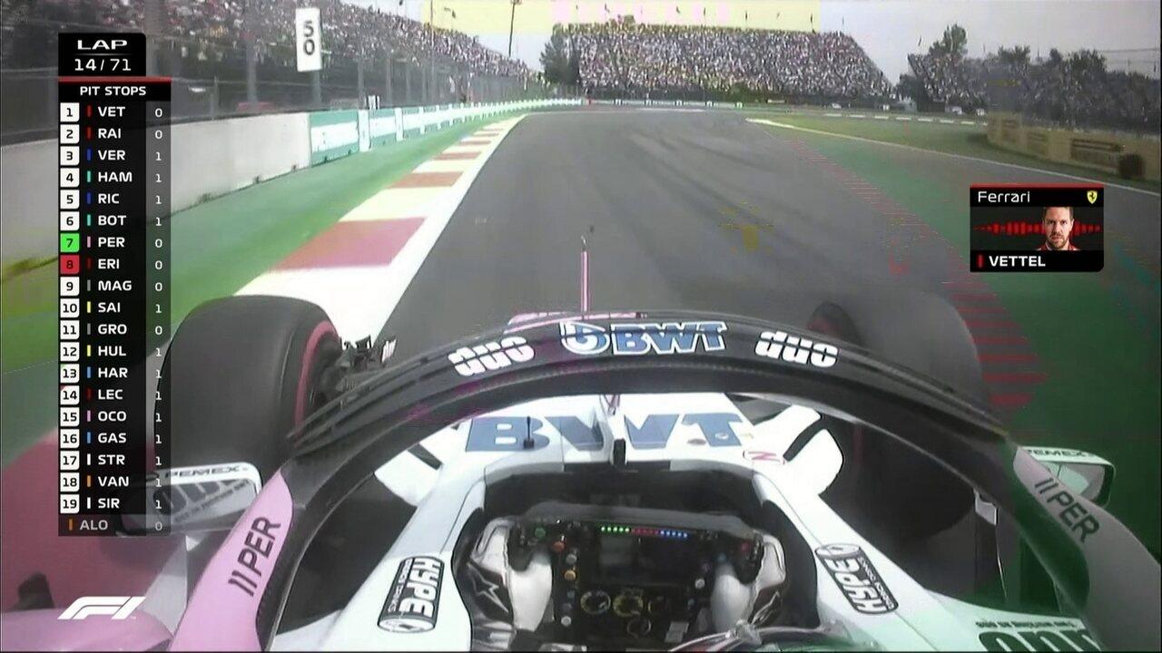 Perez ultrapassa Ericsson durante o GP do México