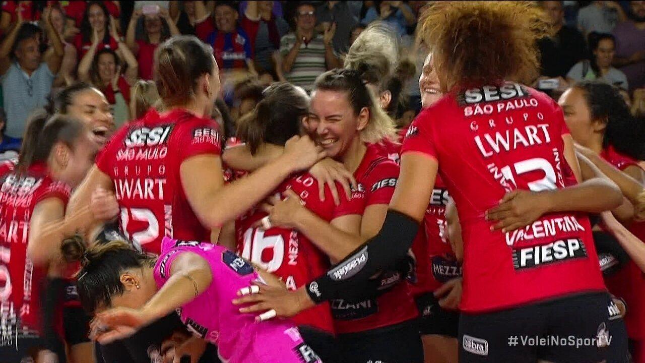 Pontos finais de Sesi Bauru 3 x 1 Pinheiros pelo Campeonato Paulista de vôlei feminino