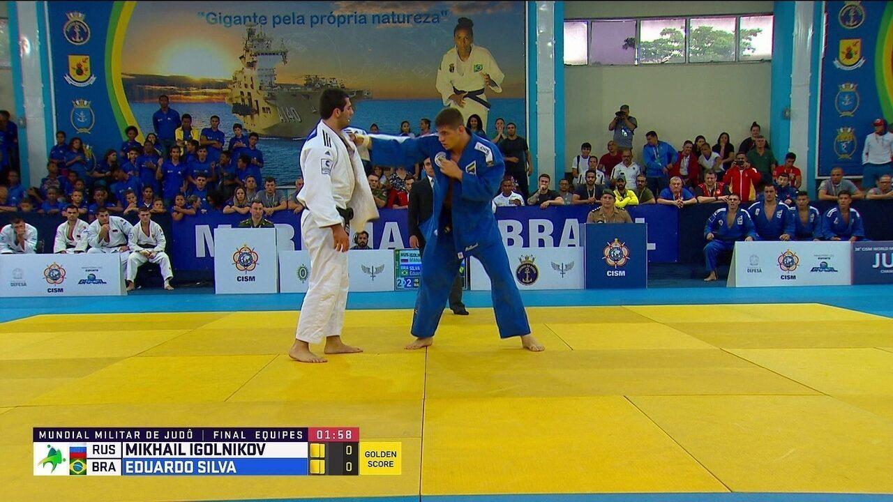 Eduardo Silva vence o russo Mikhail Igolnikov no Mundial Militar de judô