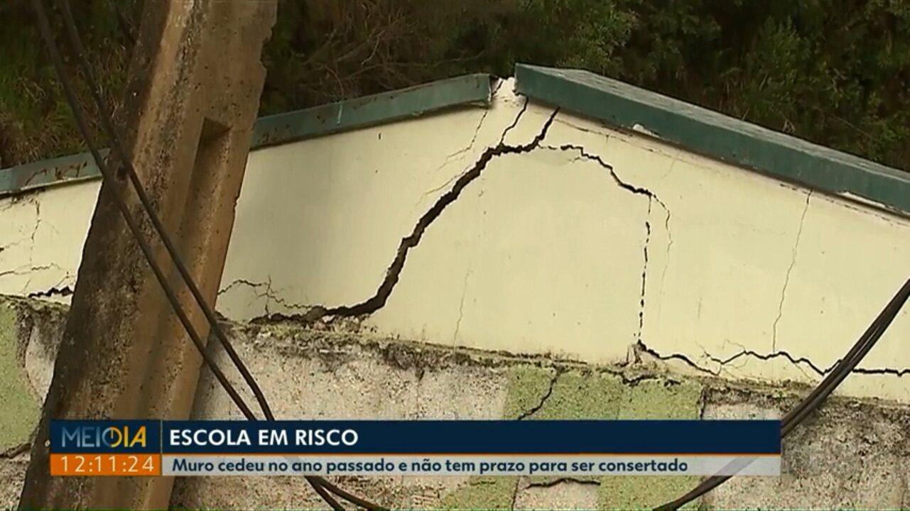 Muro de escola de Jaguariaíva ainda não tem prazo para ser consertado
