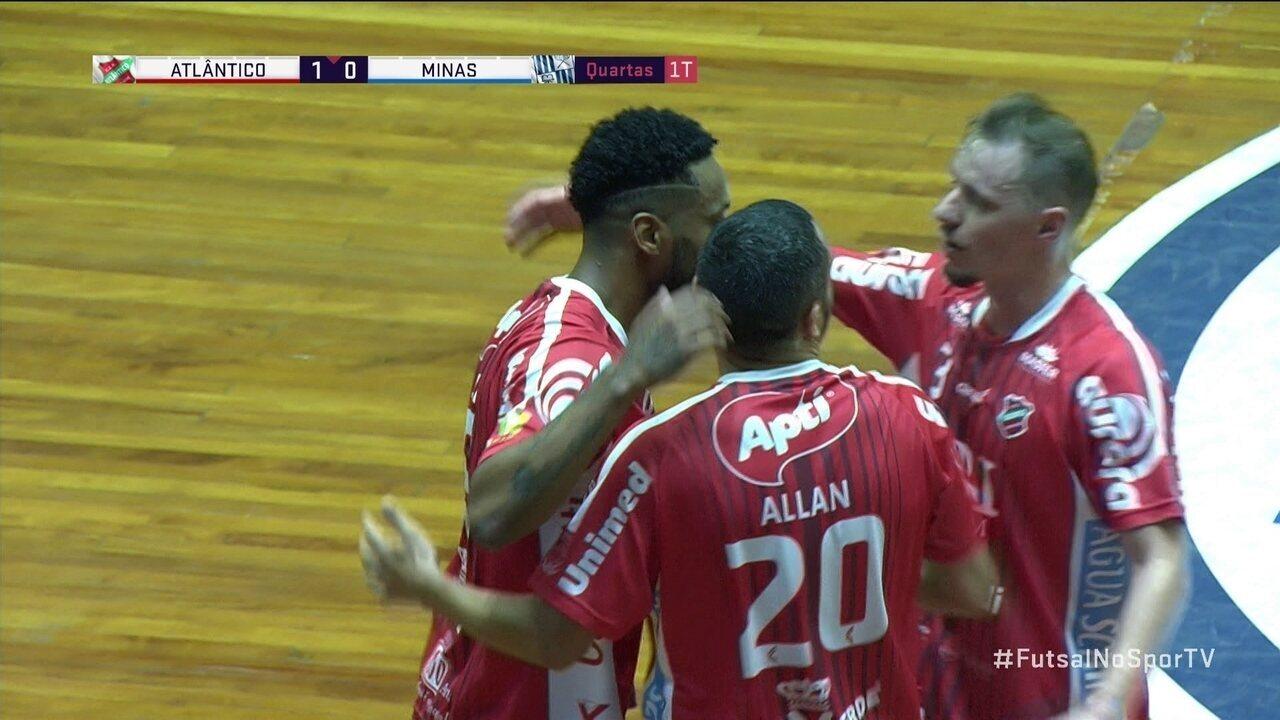 9086502314 Os gols de Atlântico Erechim 3 x 2 Minas pelas quartas de final da Liga  futsal