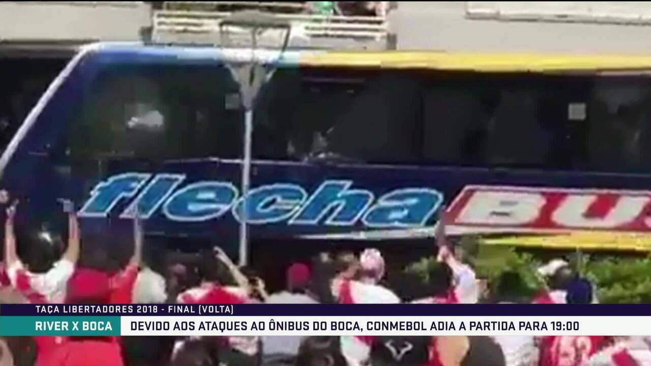 Ônibus do Boca Juniors é atacado antes da final da Libertadores, e jogo é adiado