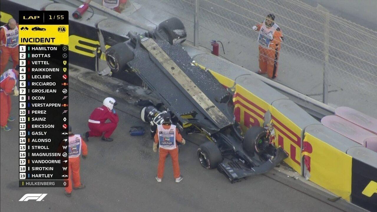 Hulkenberg sofre acidente após largada do GP de Abu Dhabi