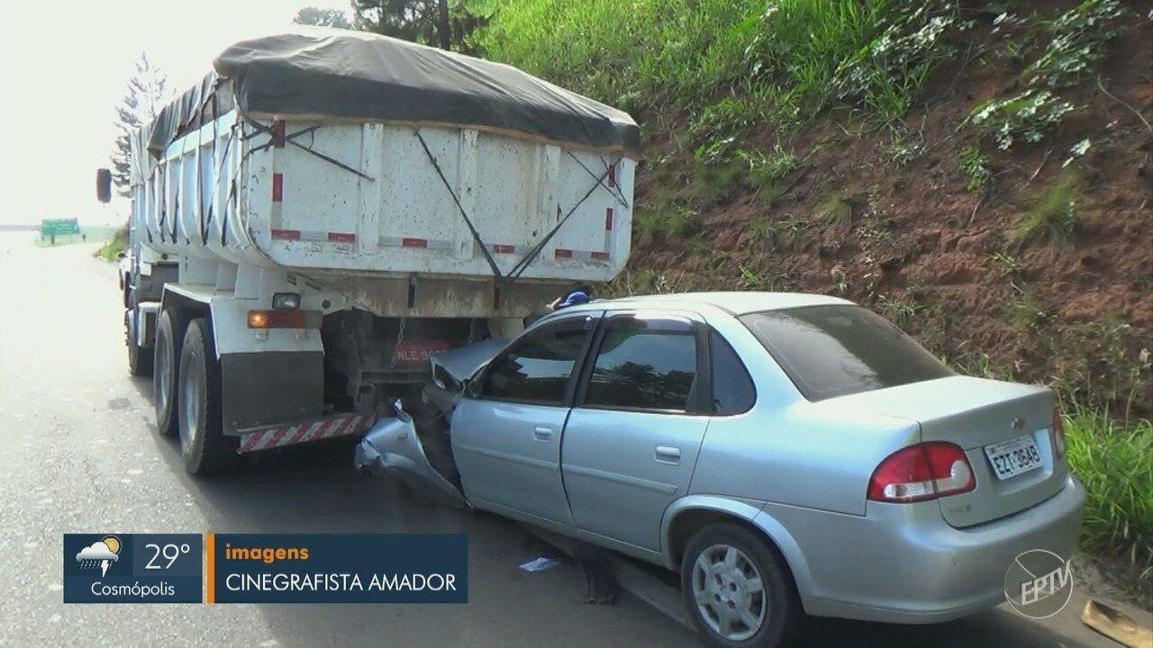 Batida entre carro e caminhão interdita acesso para Rodovia do Açúcar em Piracicaba