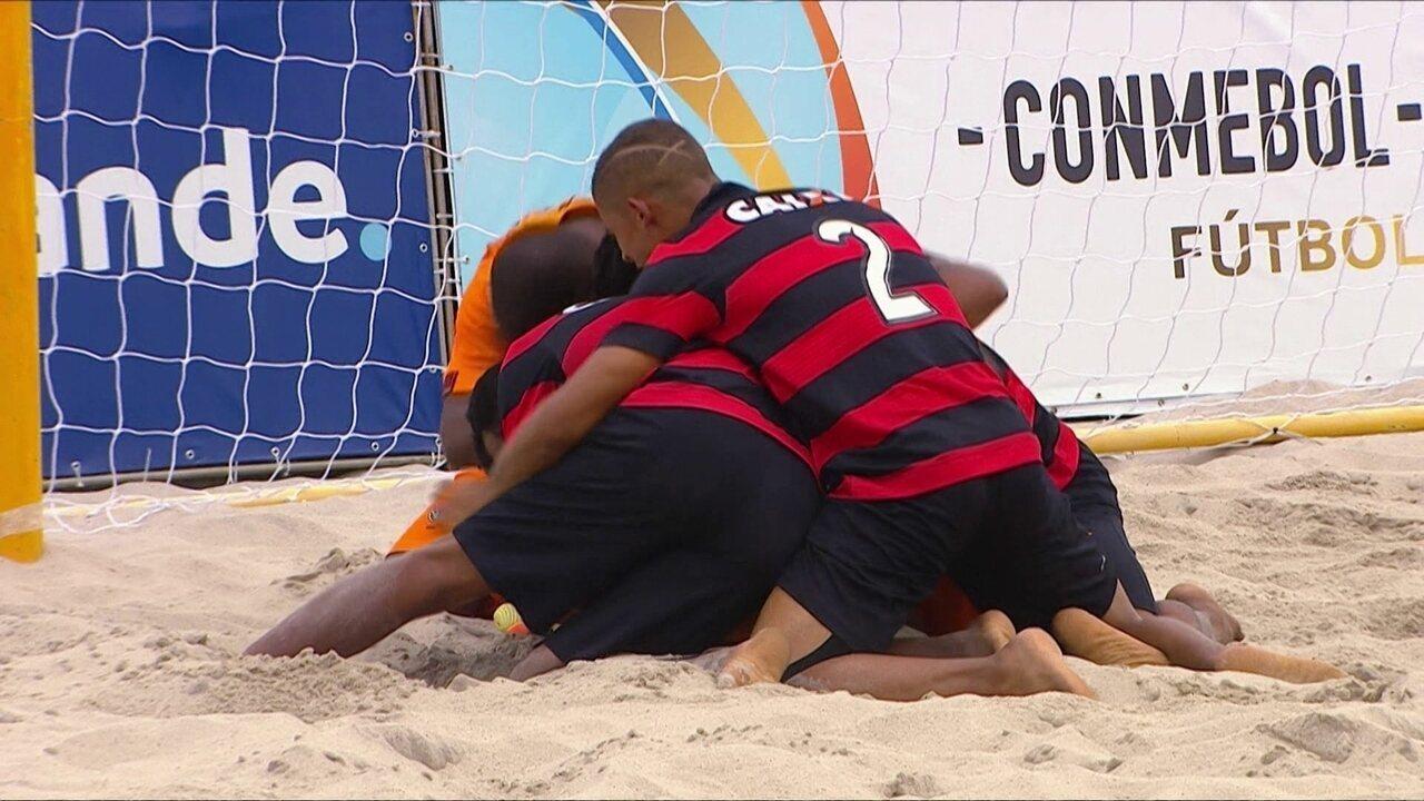 Gols de Vitória 6 (3) x (2) 6 Sampaio Corrêa pela semifinal da Taça Libertadores de areia