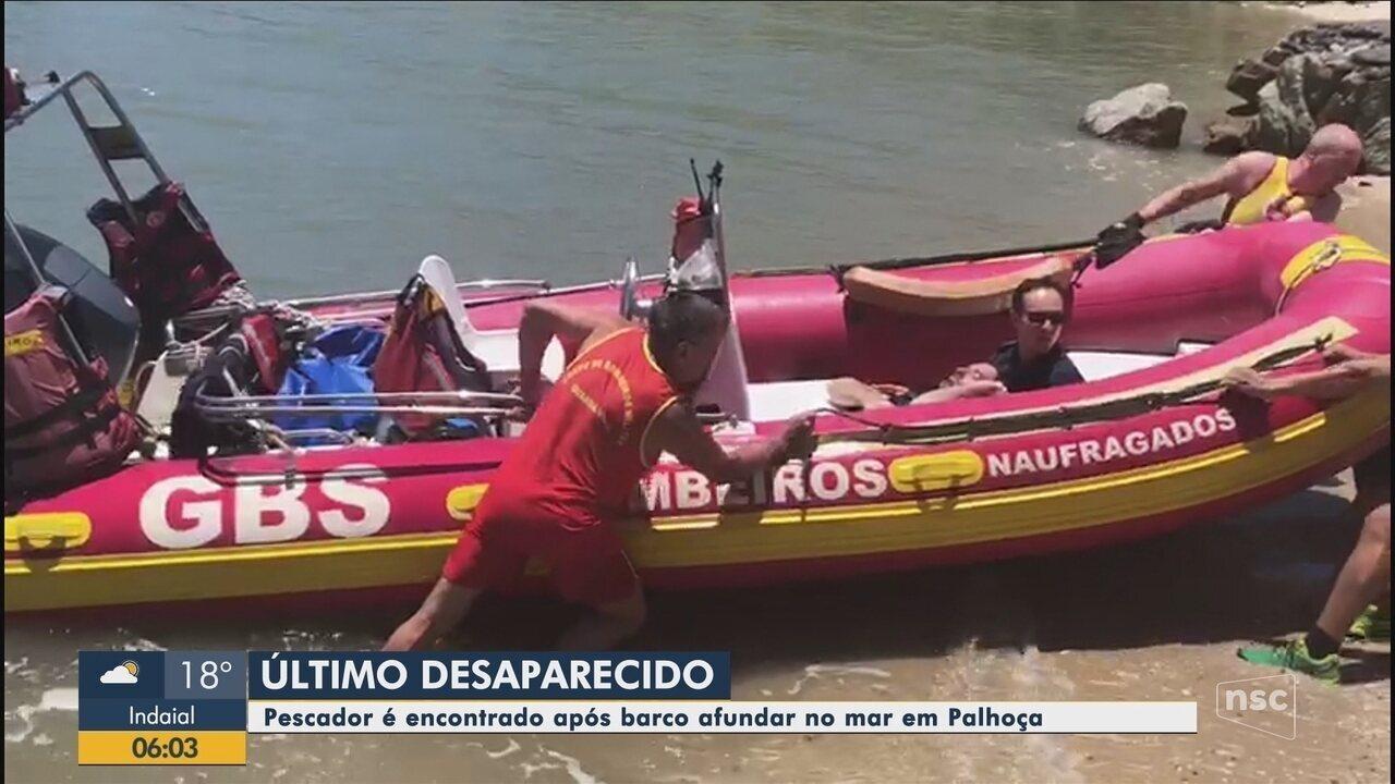 Pescador é encontrado após barco afundar no mar em Palhoça