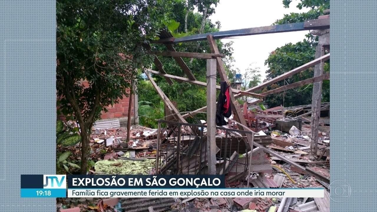 Família fica gravemente ferida em explosão de casa em São Gonçalo