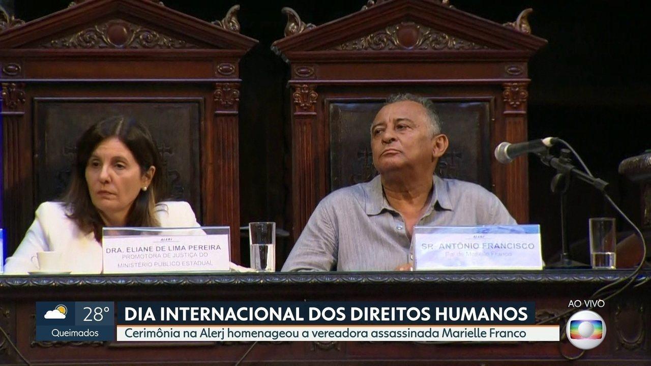 Dia Internacional dos Direitos Humanos tem homenagem a Marielle Franco, na Alerj