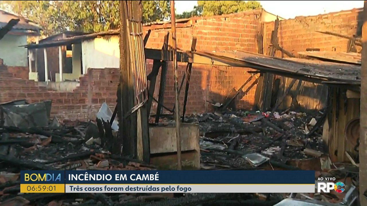 Três casas são destruídas durante incêndio em Cambé
