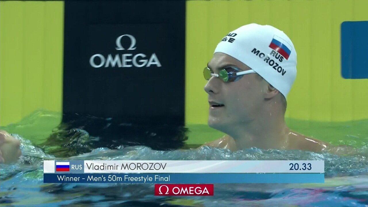 César Cielo fica em sétimo na final dos 50m livre do Mundial de piscina curta