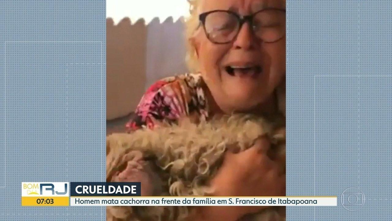 Homem mata cadela na frente da família em São Francisco de Itabapoana