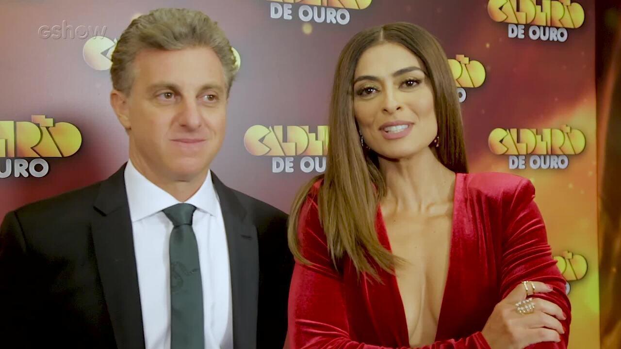 Luciano Huck e Juliana Paes falam da parceria no 'Caldeirão de Ouro'