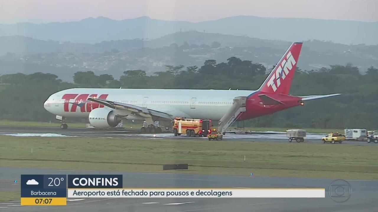 Avião faz pouso forçado no Aeroporto Internacional de BH após pane elétrica
