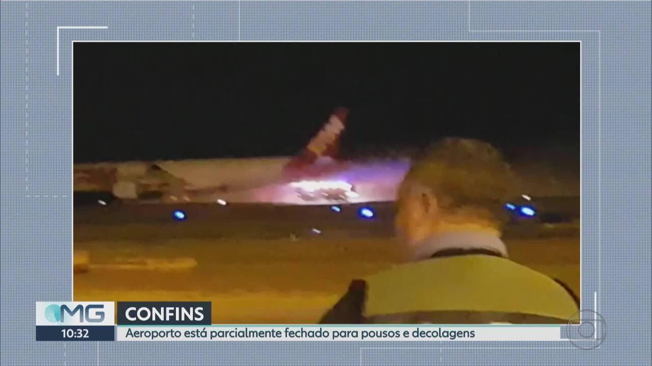 Vídeo mostra trabalho de brigadistas após pouso de emergência de avião da Latam em Confins