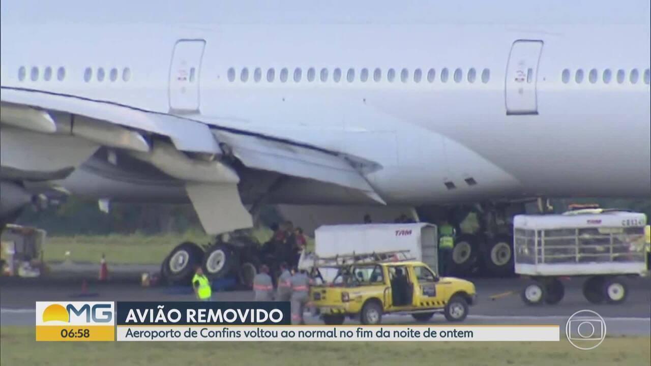 Após pouso forçado, pista do aeroporto em Confins foi liberada no fim da noite