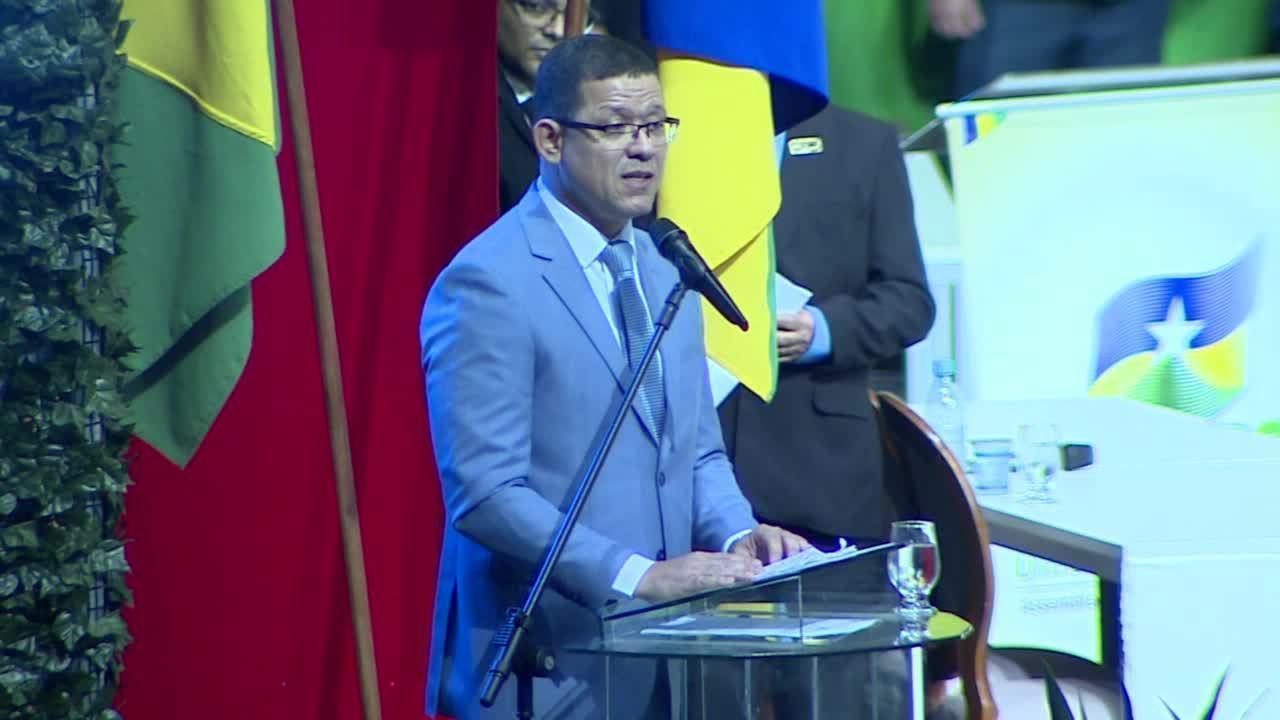 Coronel Marcos Rocha discursa durante cerimônia de posse em Porto Velho